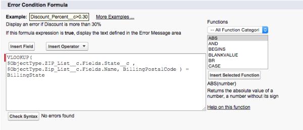 Screen grab - VLOOKUP Salesforce formula function