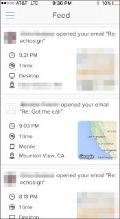 SalesforceIQ Read Receipts Screen Grab