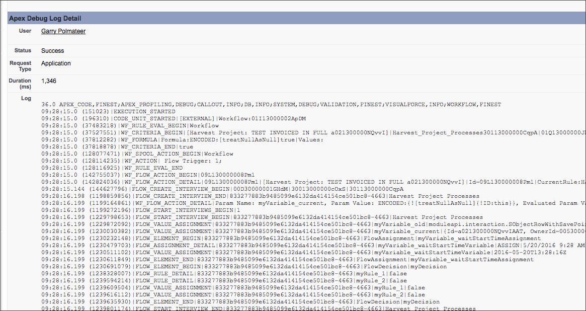 Salesforce debug logs example