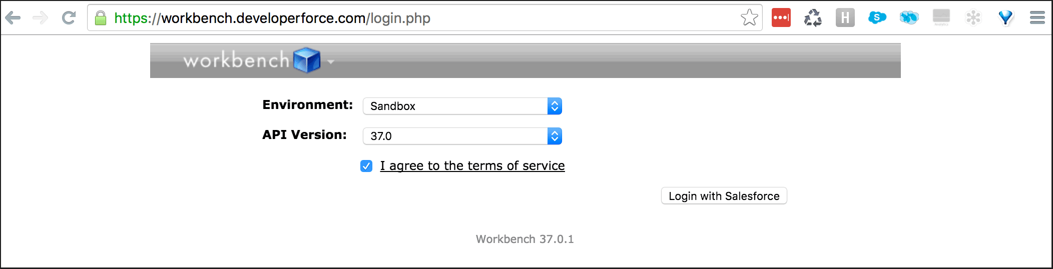 Workbench login to get your test results out of Salesforce
