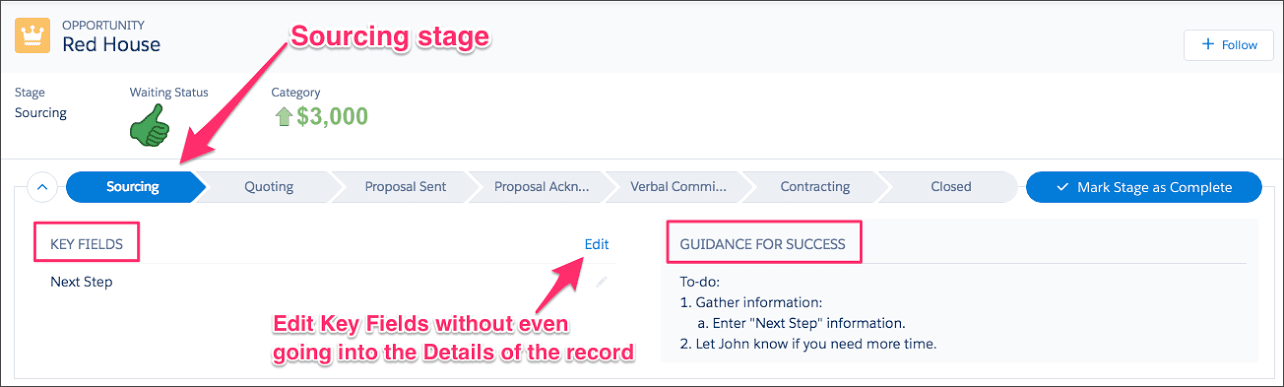 Sales Path screen grab shows how easy it is to use in Salesforce Lightning